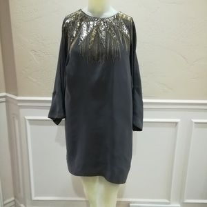 French Connection gray silk starburst dress